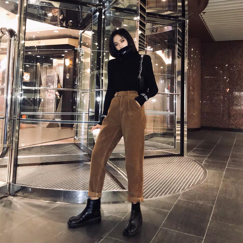brown simple loose pants