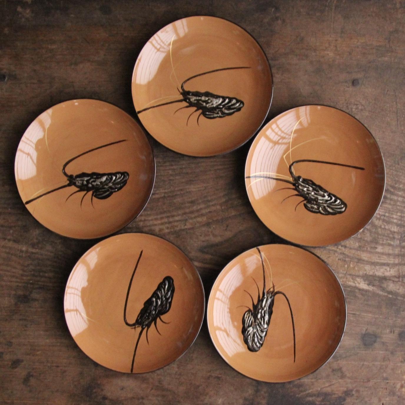 天然木 漆塗 銀海老の小皿5枚セット