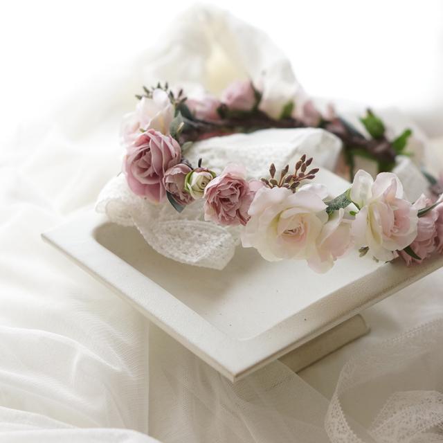ラベンダーピンクとシルバーリーフの 花冠