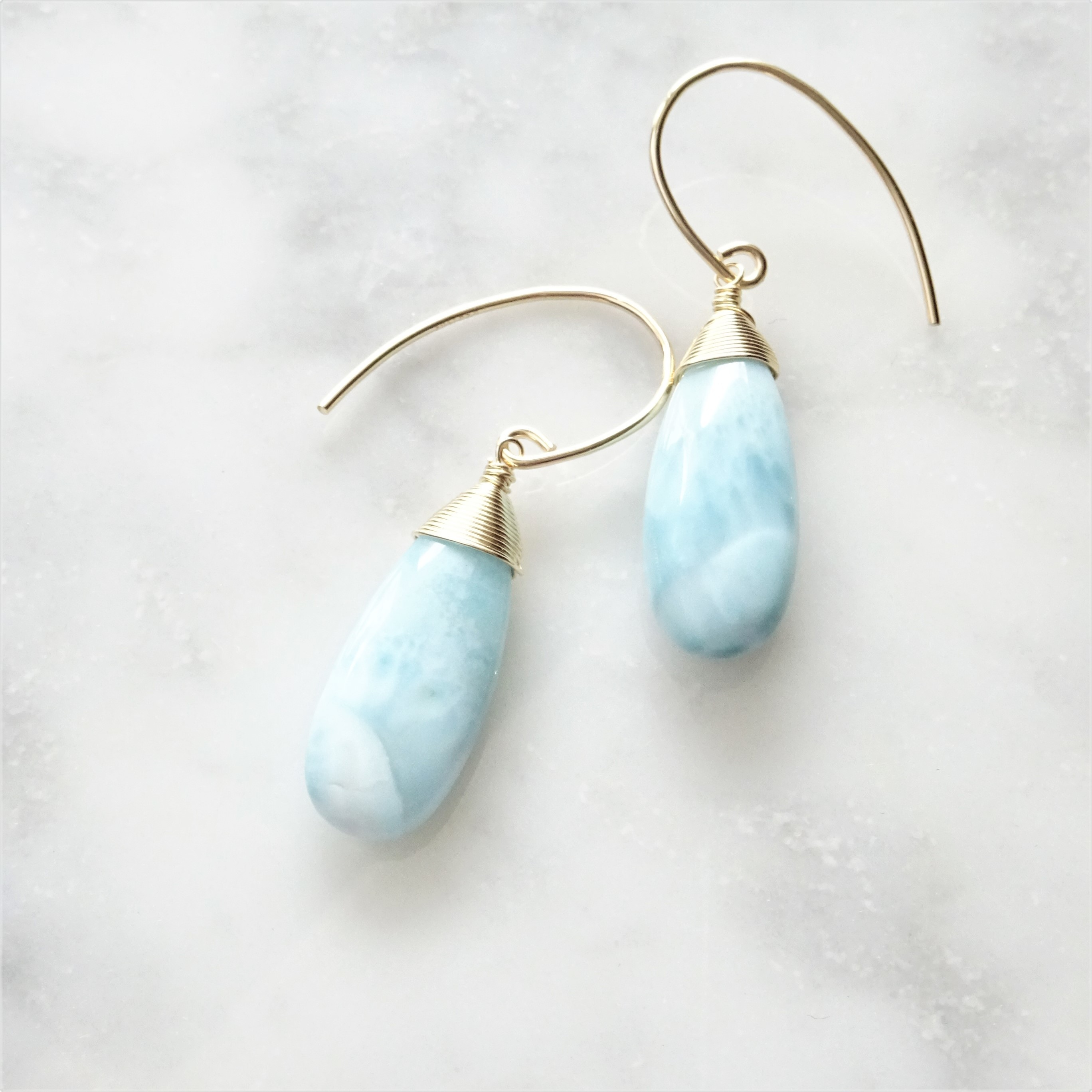 ▸LIMITED◂14kgf* Larimar drop pierced earring