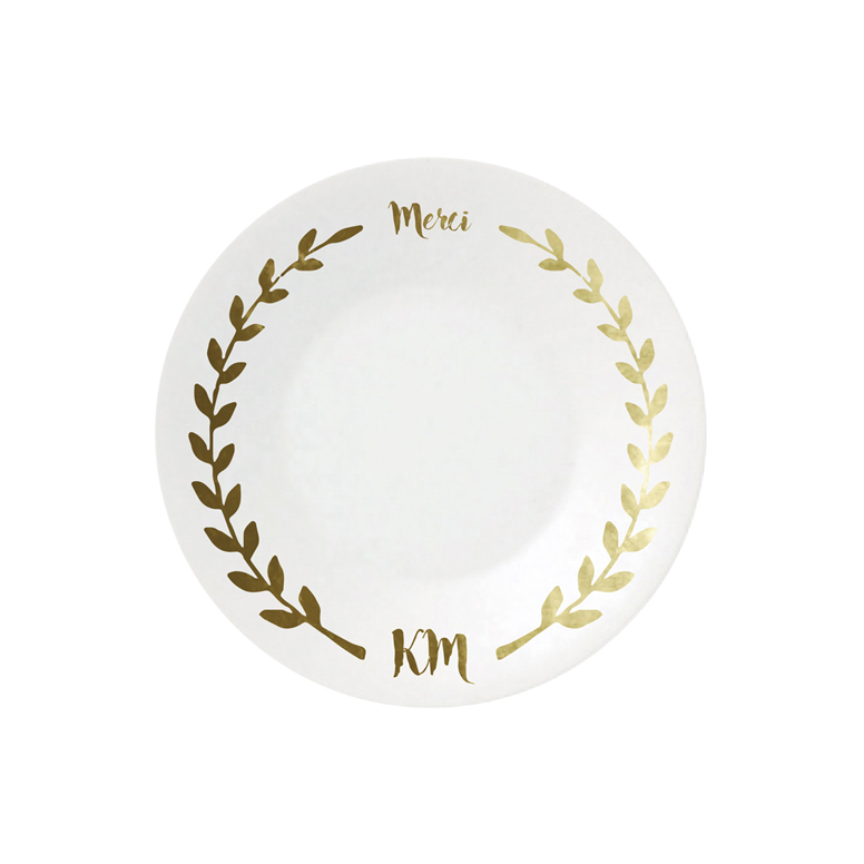 Laurel & Merci with Initial Plate