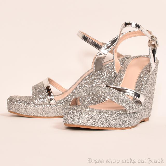SALE!! 11cmヒール サイズ豊富 シルバーラメ ウェッジソール  ma-7510 ドレス 結婚式 パーティー お呼ばれ