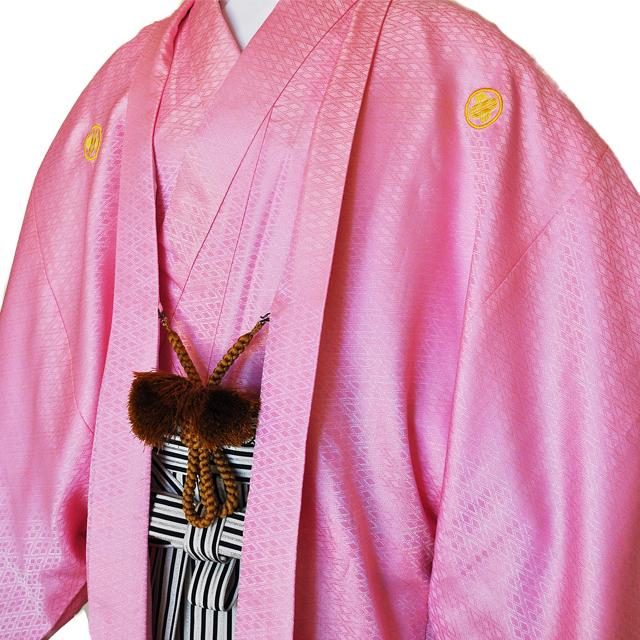 レンタル男性用【紋付袴】桃色着物羽織と黒銀ぼかしの袴フルセットpink1[往復送料無料] - 画像1