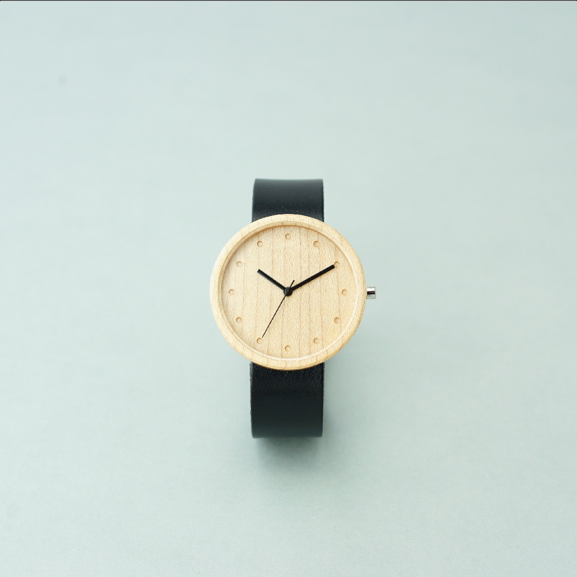 Maple wood - Organic leather Black - L