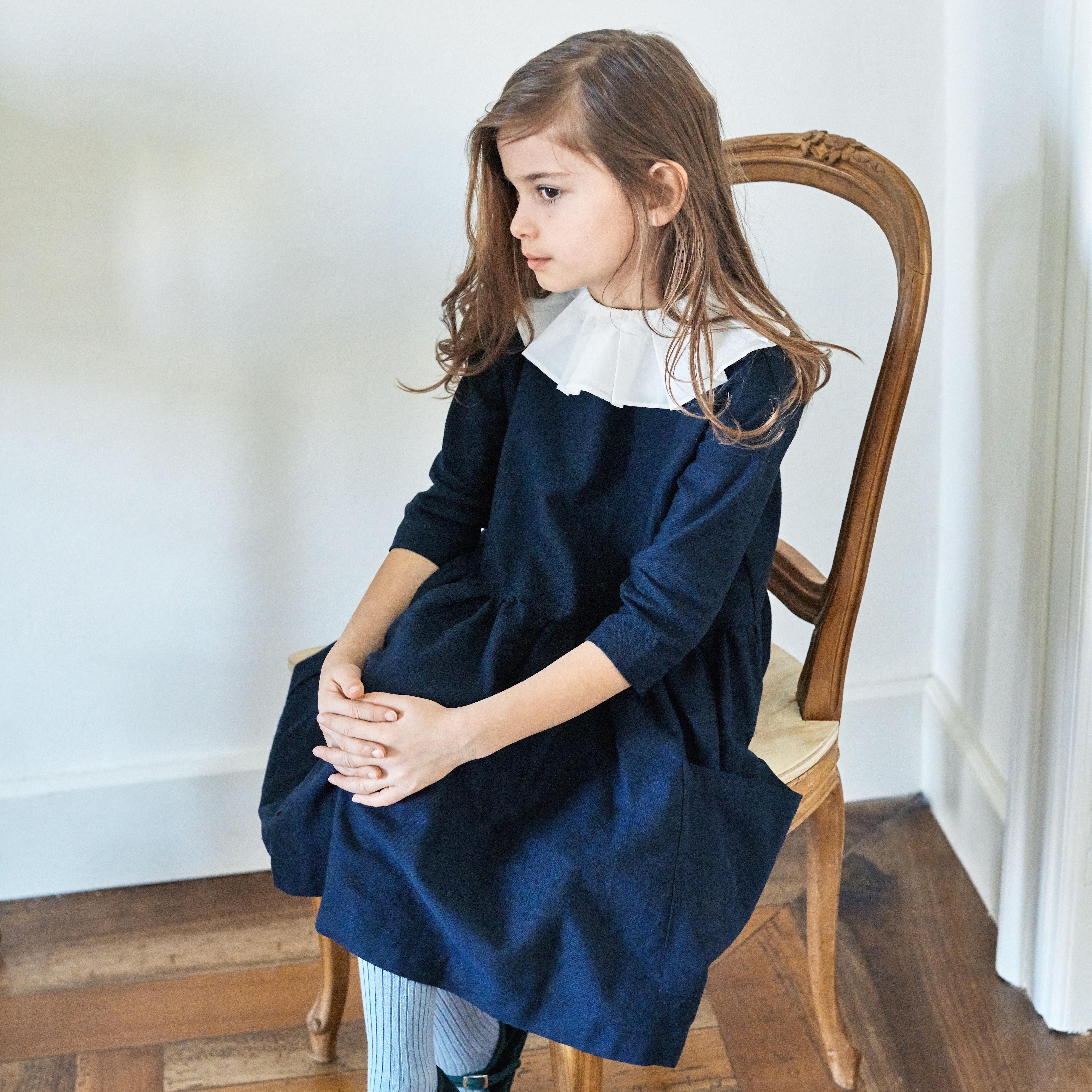 《AS WE GROW 2019AW》Pocket Dress long sleeve / Navy