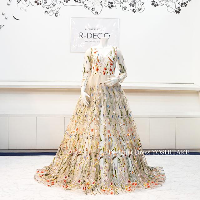 【オーダー制作】ウエディングドレス(Aラインパニエ無料) フラワーアップリケレースドレス 披露宴/二次会 ※制作期間3週間から6週間