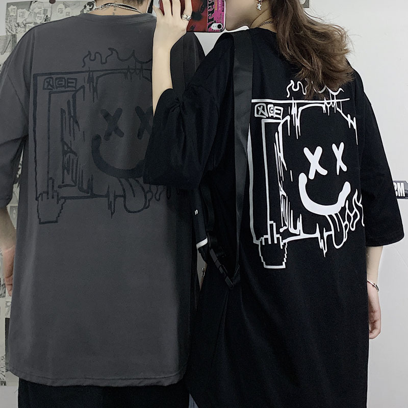 ユニセックス Tシャツ 半袖 メンズ レディース ラウンドネック スマイル ニコちゃんマーク プリント オーバーサイズ 大きいサイズ ルーズ ストリート