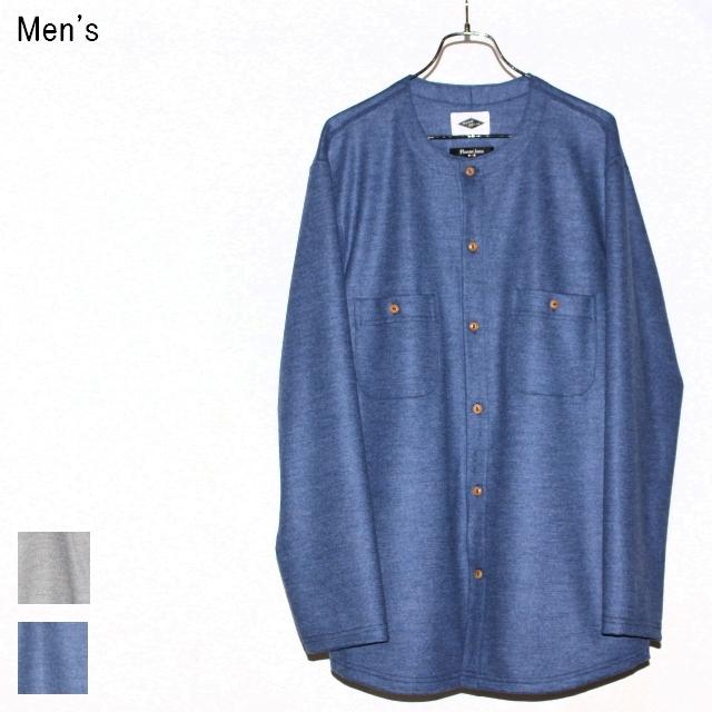 MOSODELIA ウールノーカラーシャツ Collarless Shirts (BLUE)