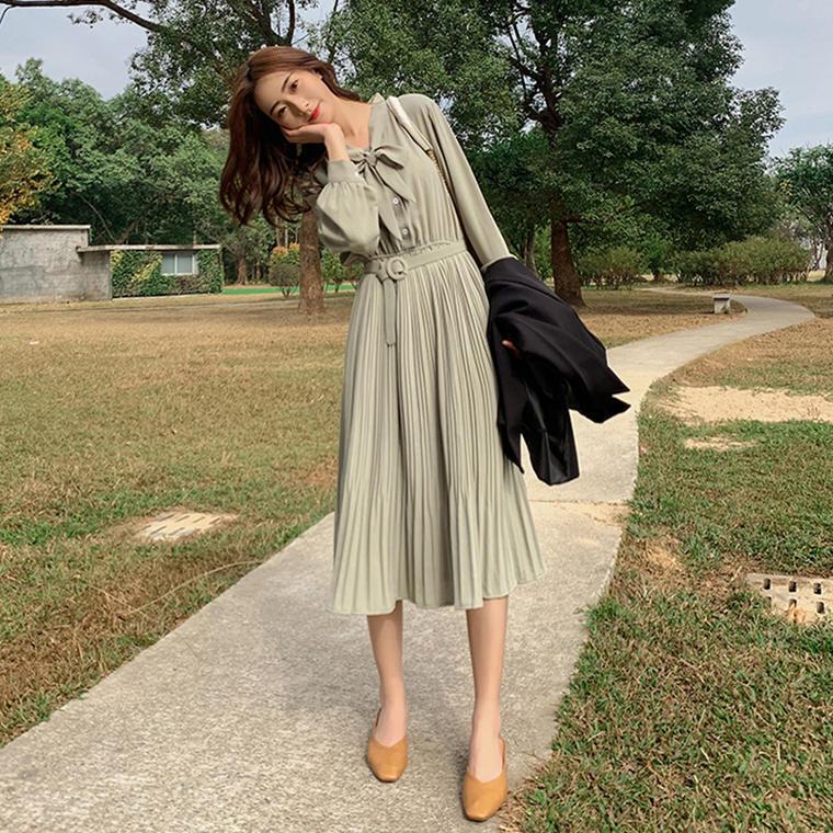 【送料無料】 大人ガーリー♡ フェミニン ボウタイ リボン プリーツスカート ロング ワンピース ウエストマーク付き
