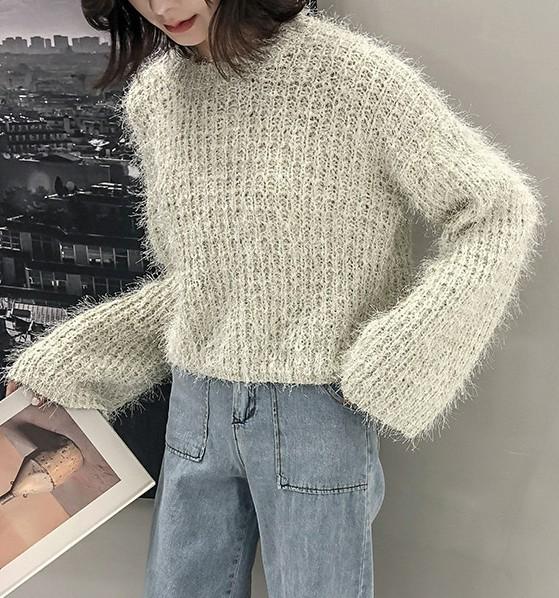 ラメニット ショート丈 秋と冬 セーター フラッシュ 厚手