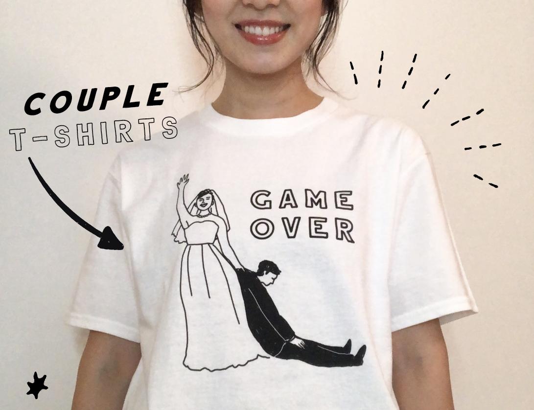 【送料無料】新郎新婦 ペアTシャツ GAME OVER │ 結婚 ウェディング 前撮り