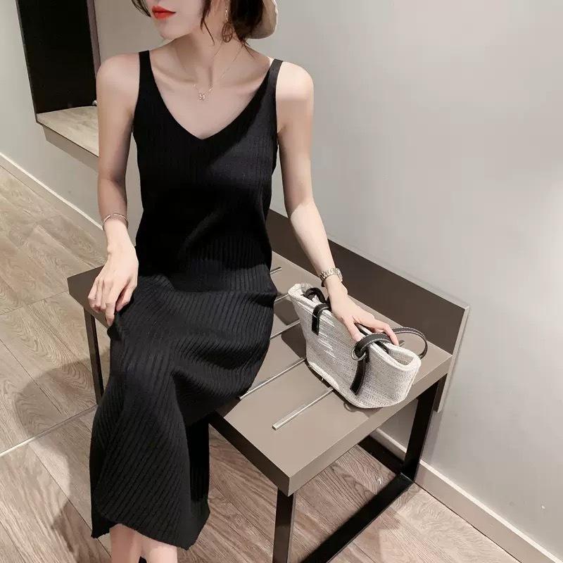 【即納】over v neck camisole dress