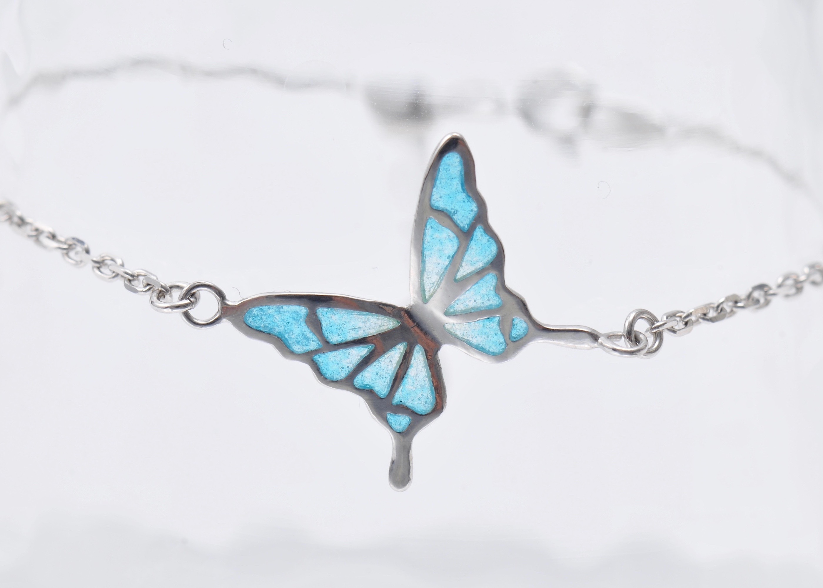 - 碧い蝶 - 透胎七宝ブレスレット