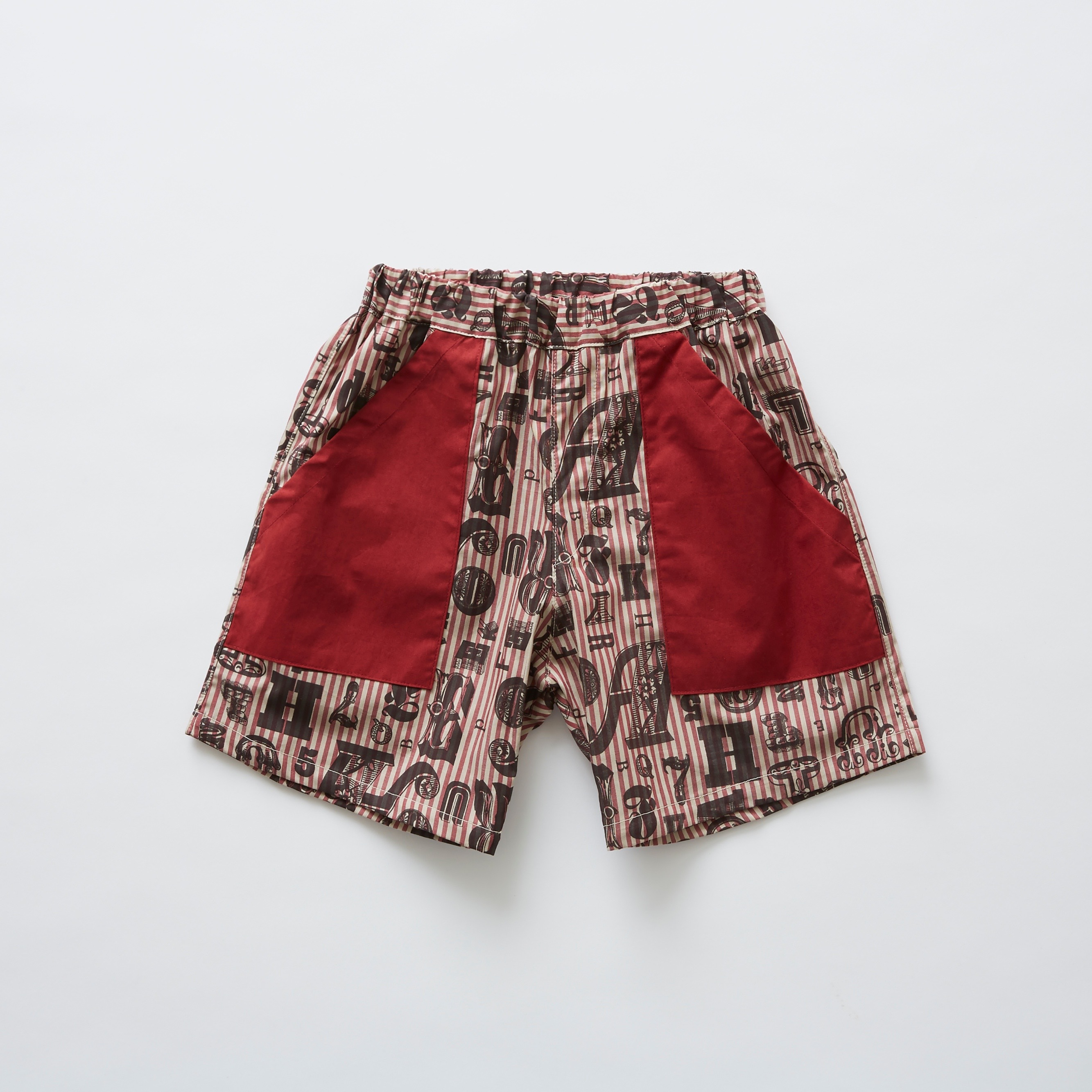 《eLfinFolk 2019SS》stripe × alphabetic print shorts / burgundy / 110-130cm