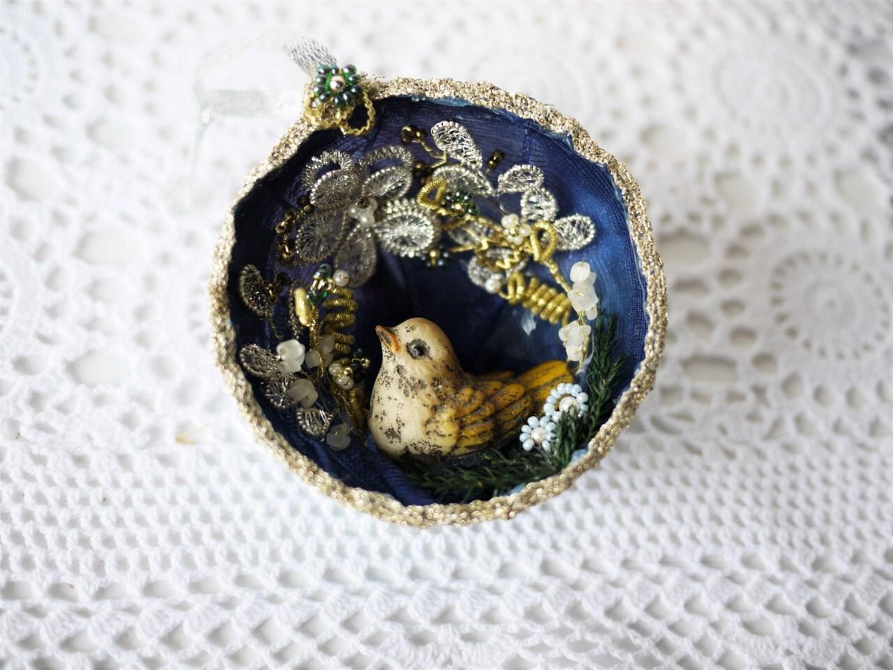 小鳥のオーナメント 群青色クーゲル  ドイツ