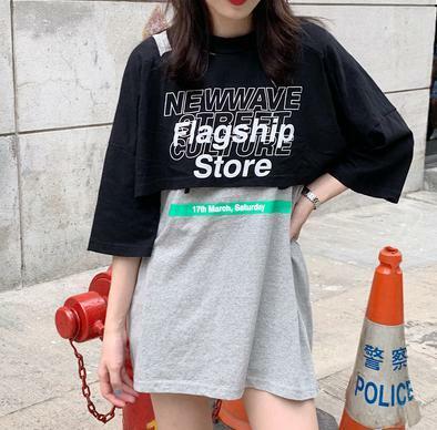 ロゴ 重ね着風 半袖 原宿系 3T 韓国 カジュアル ストリート ヒップホップ ダンス 衣装 オルチャン Tシャツ