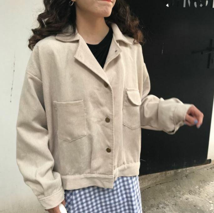 【送料無料】 秋のこなれジャケット♪ コーデュロイ 開襟 カジュアル ジャケット コート アウター
