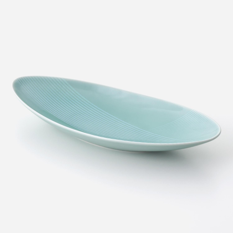 青磁光彩 楕円大鉢