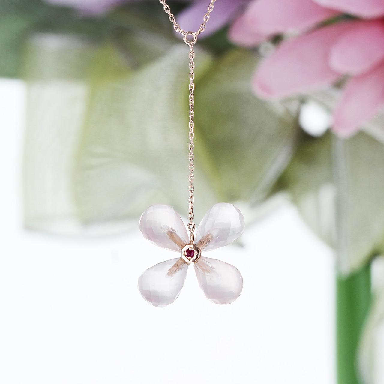 K10PG / ネックレス / Flower〜いろいろなお花のかたち〜 雫型ローズクォーツ × ルビーのお花のかたち