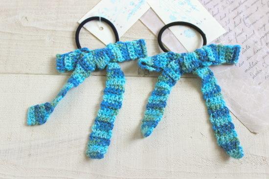 リボンヘアゴム*手編み ブルーミックス/sakura 型番:H-33