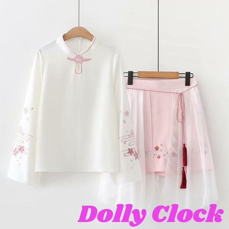 桜刺繍長袖チャイナセットアップ(ブラウス+メッシュスカート)