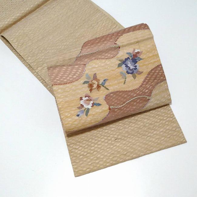 ★ 美品 袋帯 変わり織 ナチュラル 椿 ★ 縁ちゃぶ c001