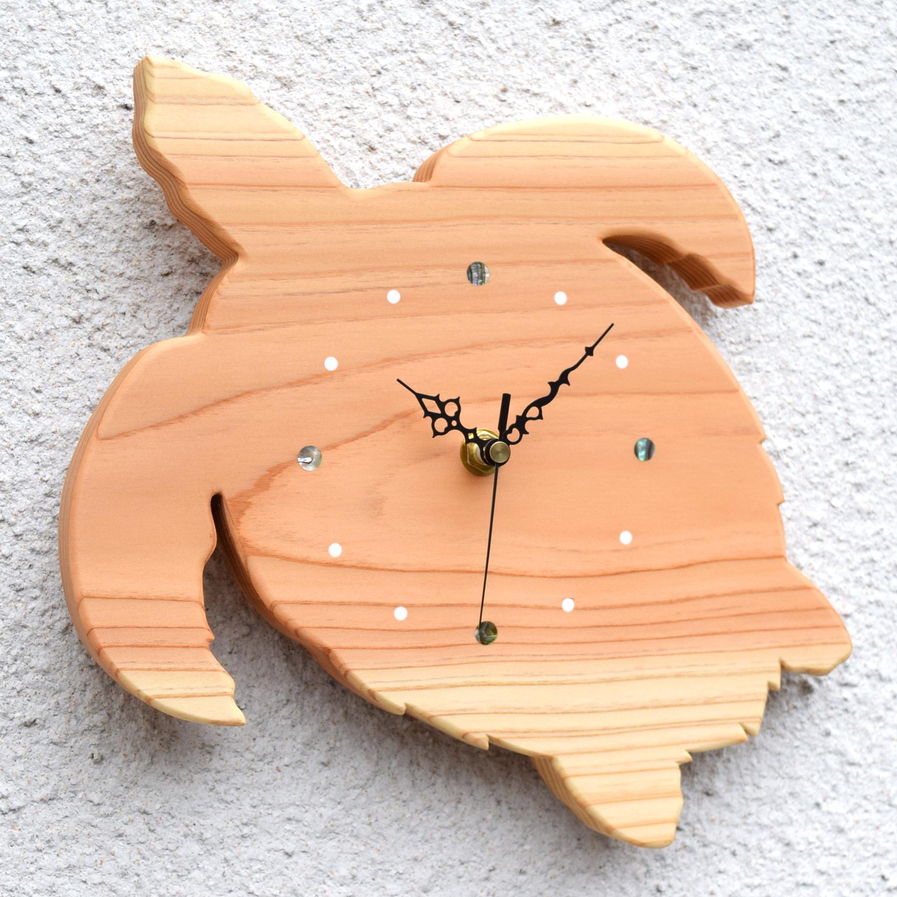 【海の生き物】掛時計『ウミガメ』【智頭杉】