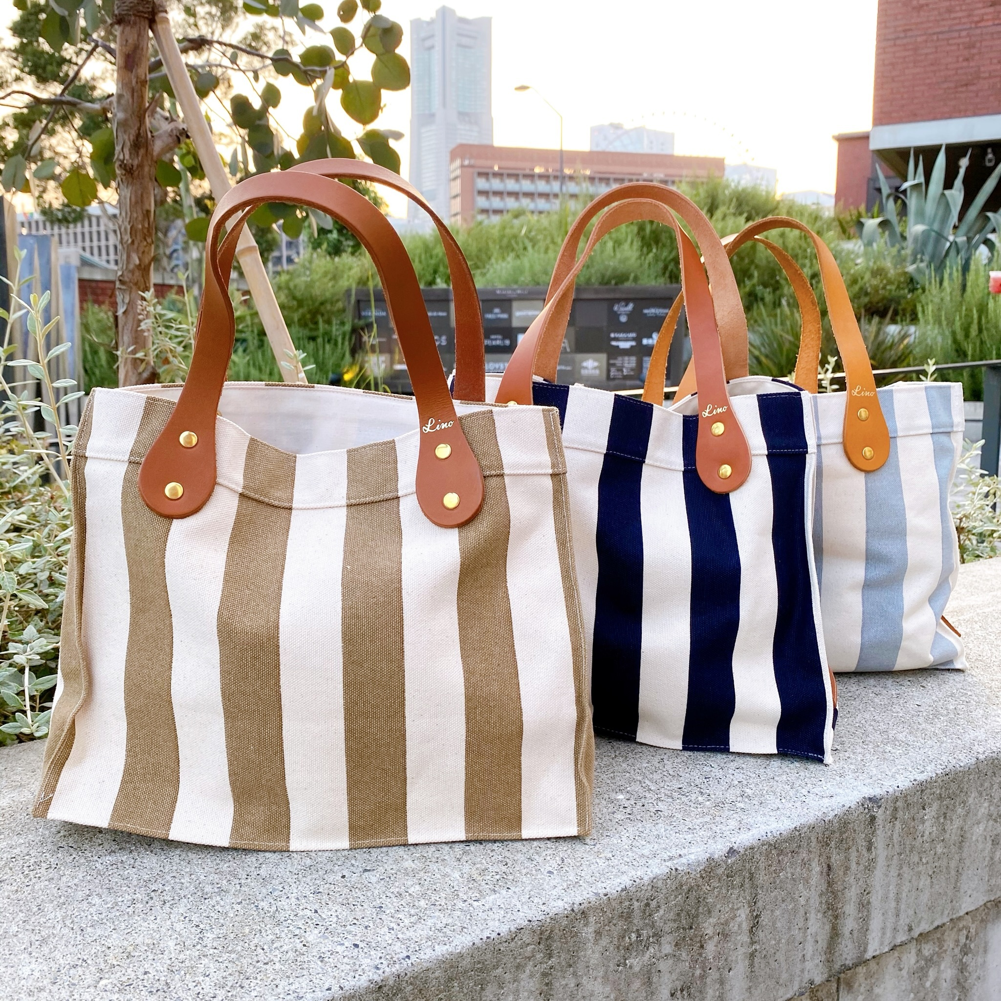 Stripe tote bag S - Leather