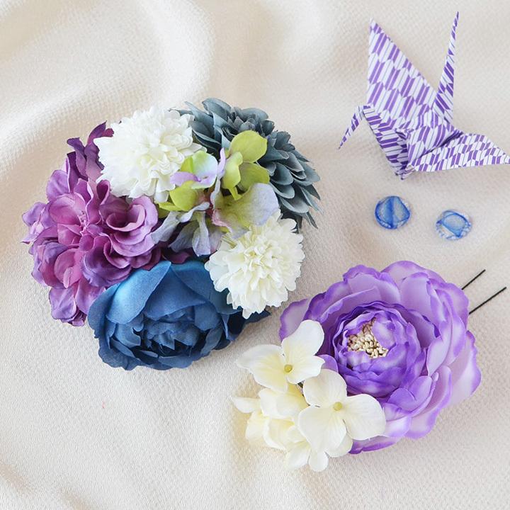 髪飾り 和装 パープルフラワー花飾り2点SET/紫[fc200pu]結婚