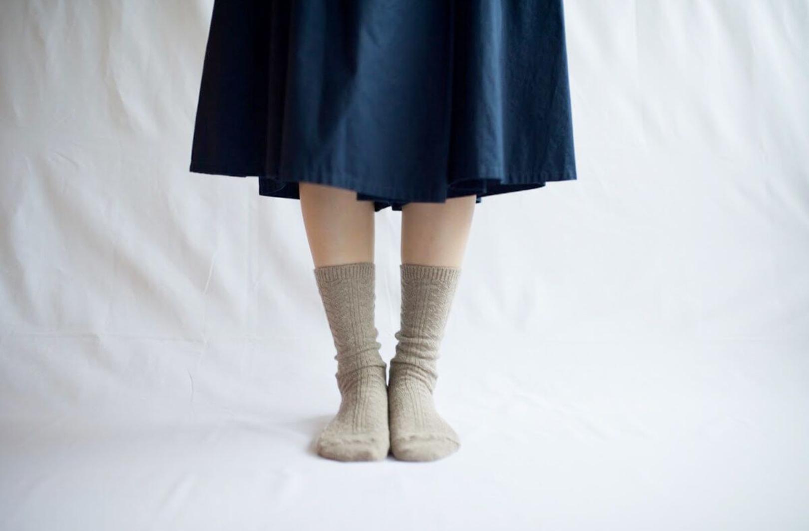 ニシグチ靴下 アルパカウールケーブルソックス