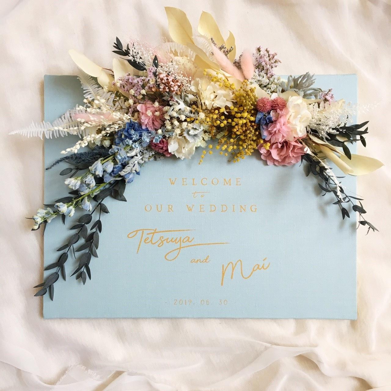 【お好きな色で】爽やかブルー×ゴールドのフラワーウェルカムボード │インテリア 結婚