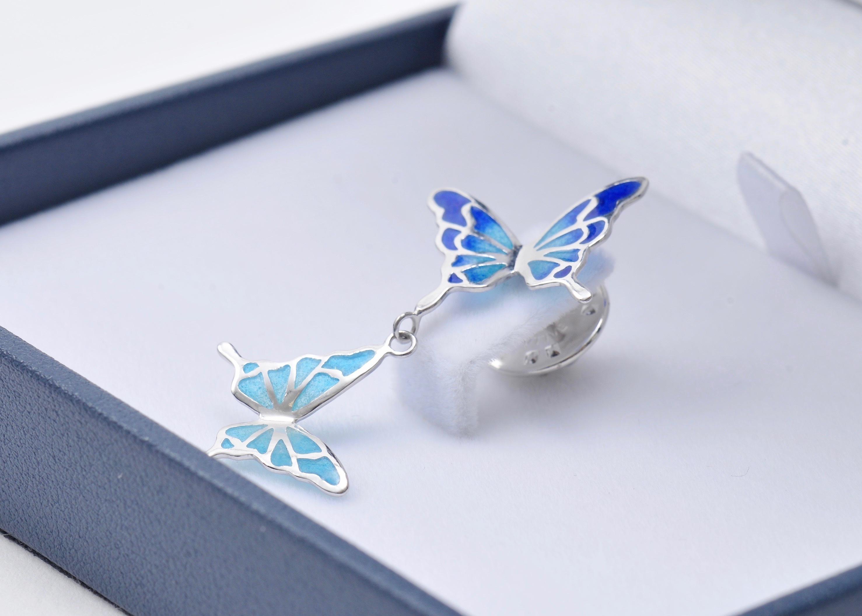 - 碧い蝶 - 透胎七宝ブローチ/タックピン