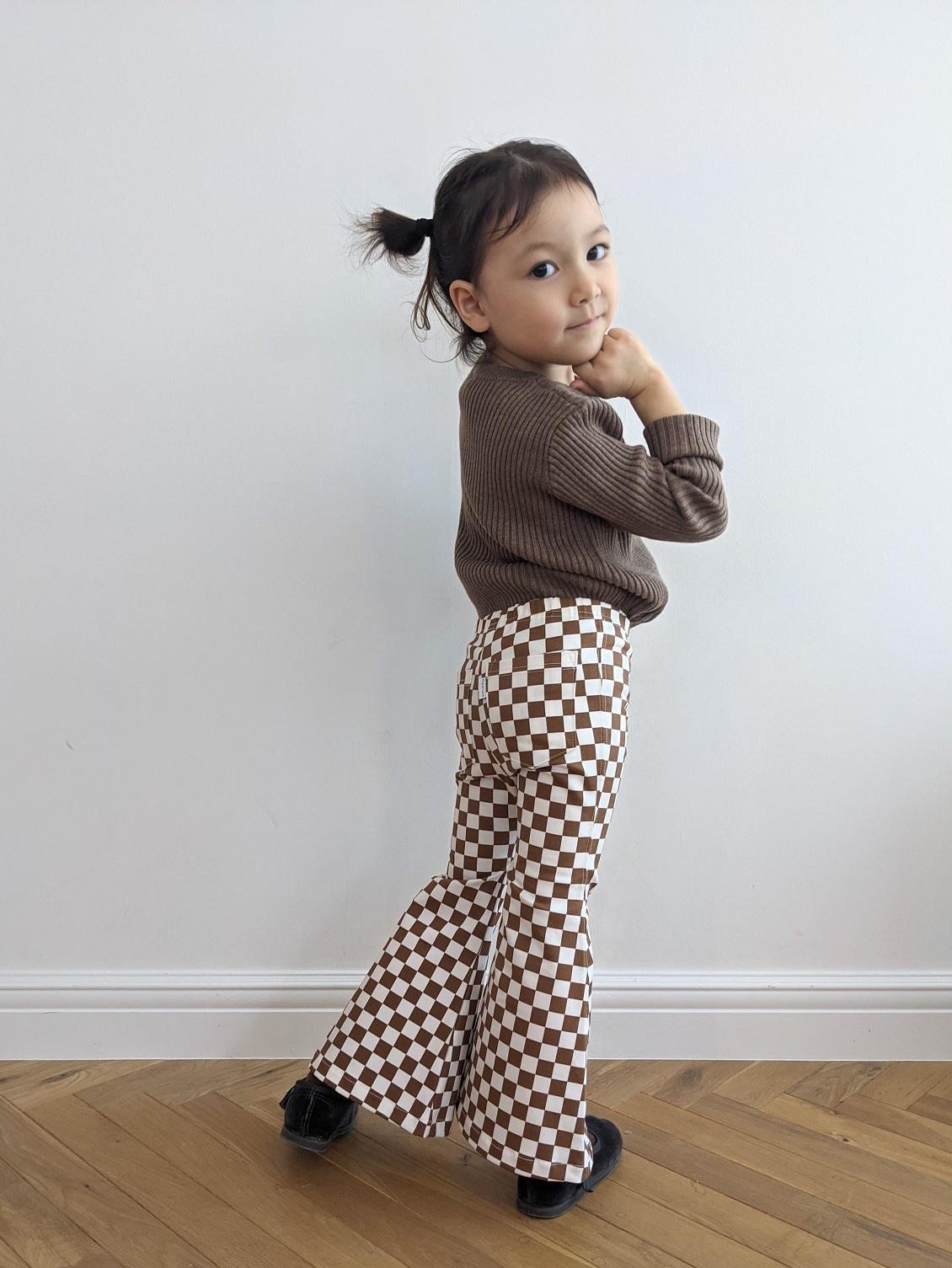 Kids Checkered Bell Bottoms - Mocha