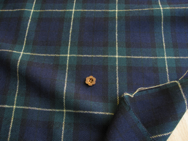 ウール混ブラックウオッチ〈織物) イエローライン UR-0117