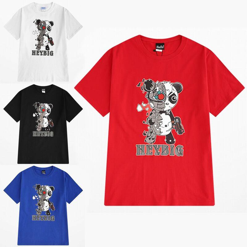 ユニセックス 半袖 Tシャツ メンズ レディース サイボーグパンダ プリント オーバーサイズ 大きいサイズ ルーズ ストリート