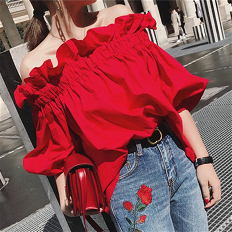 【tops】ファッションボートネック無地シャツ21825289