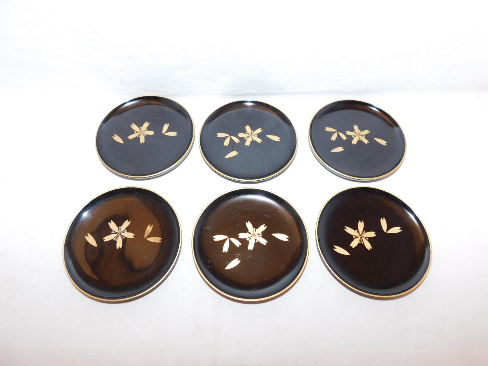桜模様コースター(6客) lacquer Japanese tea six saucers(No9)