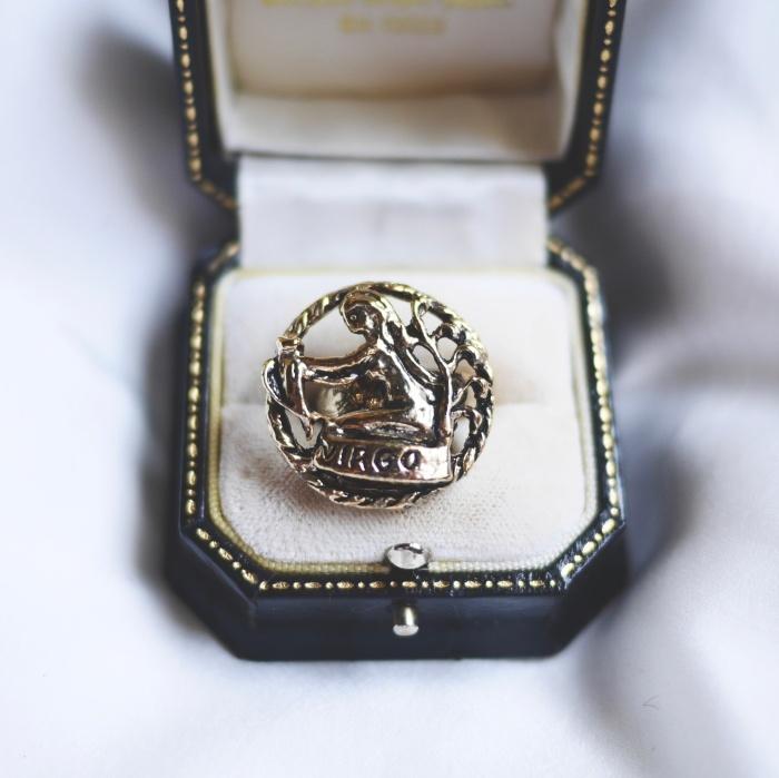 12星座  おとめ座(ヴァーゴ)   70s ヴィンテージリング(指輪)フリーサイズ Vintage ring Zodiac