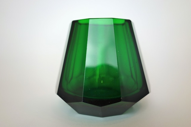 ヨーゼフ・ホフマン Josef Hoffmann 1920年頃製作 アンティークガラス 花瓶【深緑】