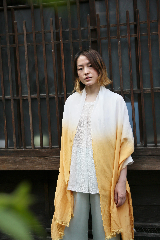 綿シルクスカーフ ORANGE〜段染め〜