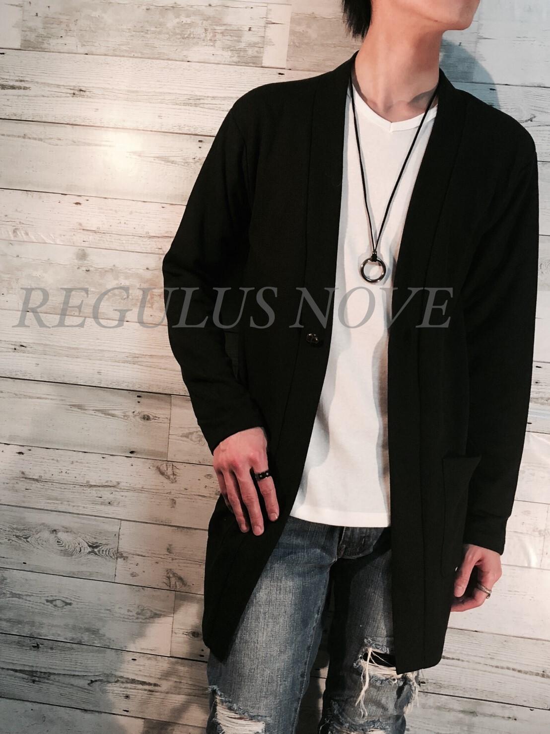 REGULUS NOVE ノーカラーロングカーディガン BLACK 春物 夏物 羽織 大人 カジュアル レイヤード