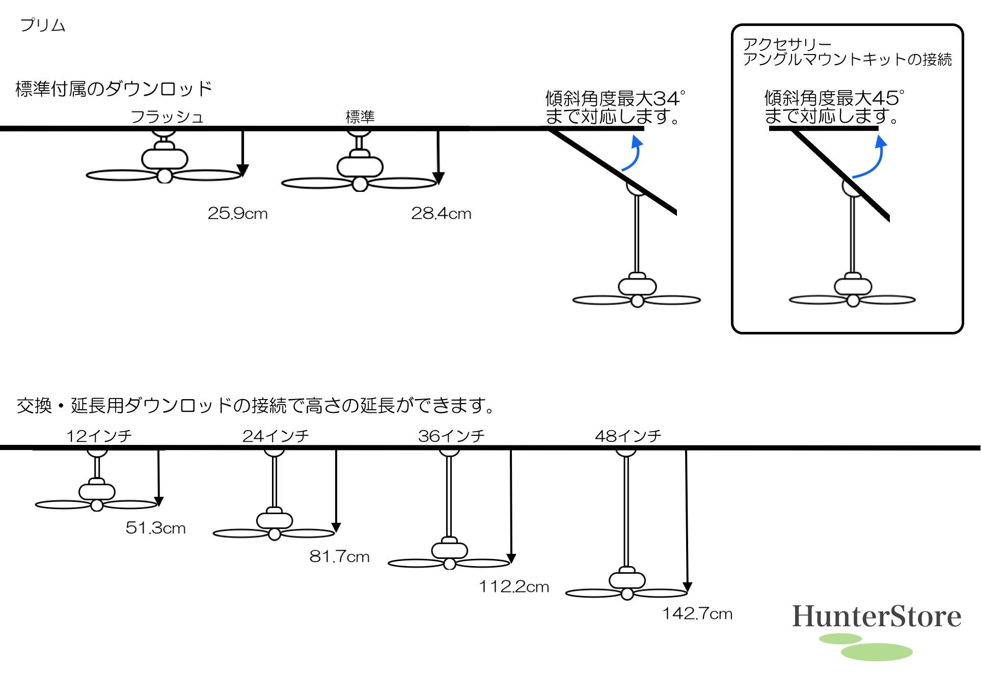 プリム 照明キット無【壁コントローラ・36㌅91cmダウンロッド付】 - 画像2