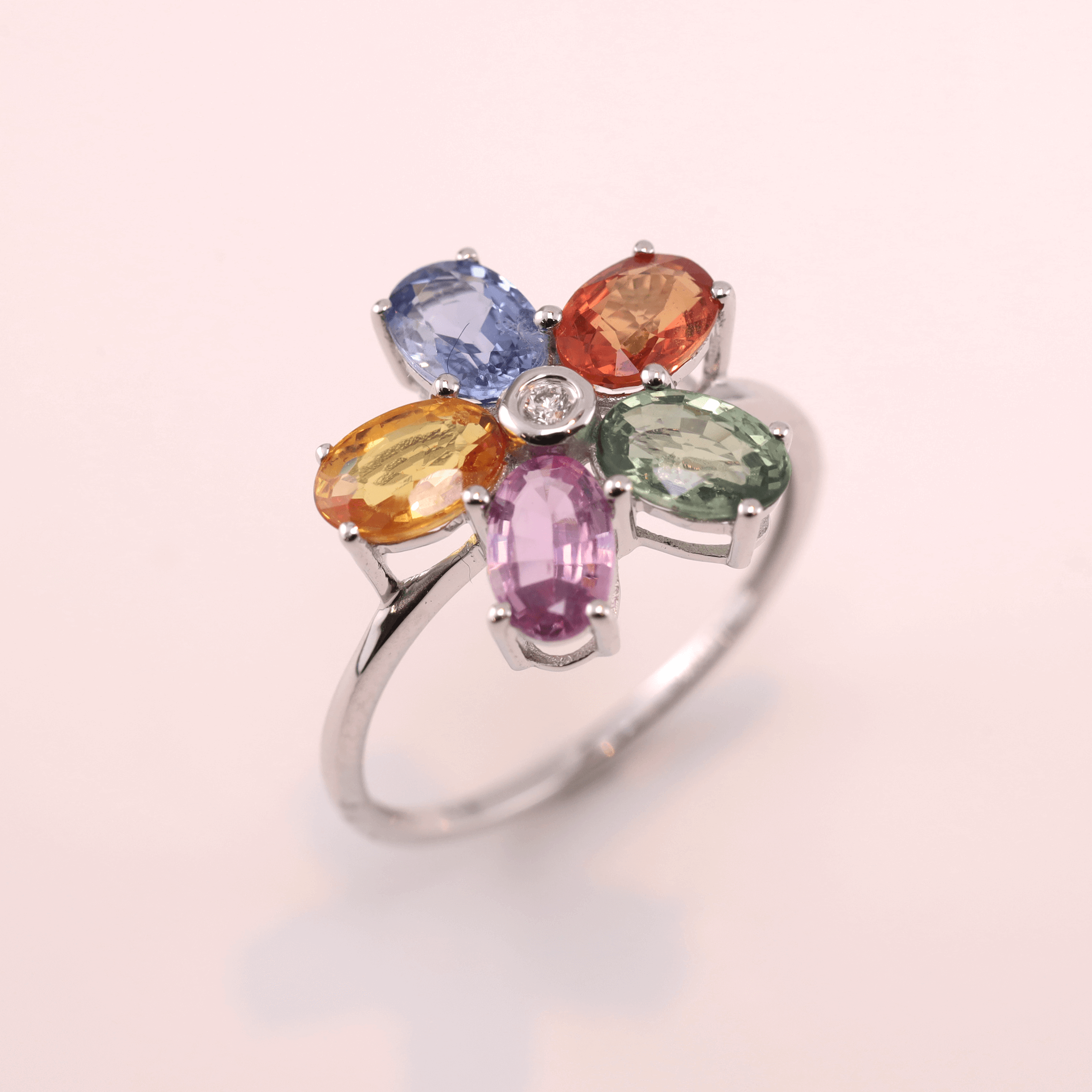 Multi Color Sapphire Ring -Flower