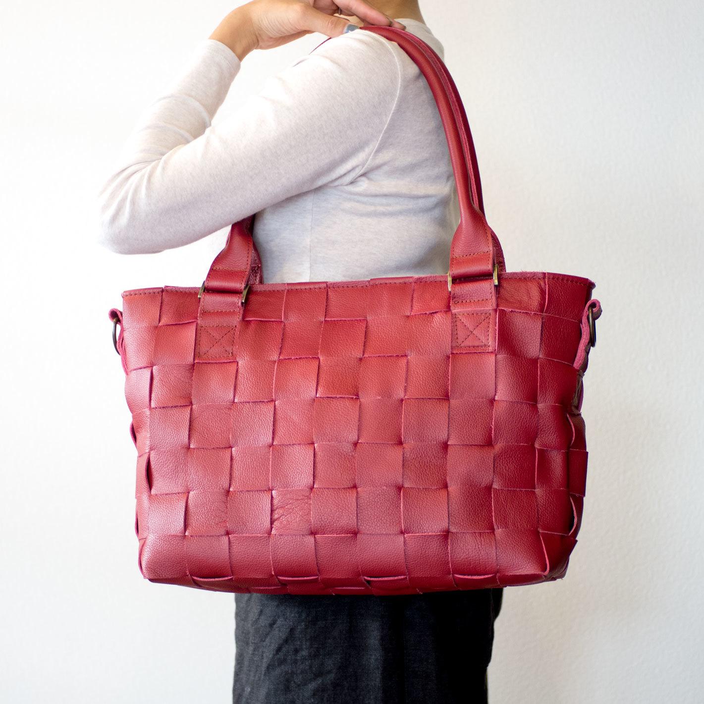 家具用・牛革製 / 編み革、メッシュレザー/ショルダー付・2WAY レザートートバッグ/ 赤 / A4すっぽり