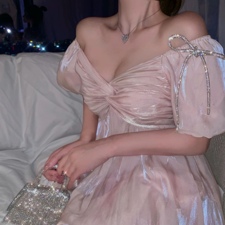 pink satin ribbon dress