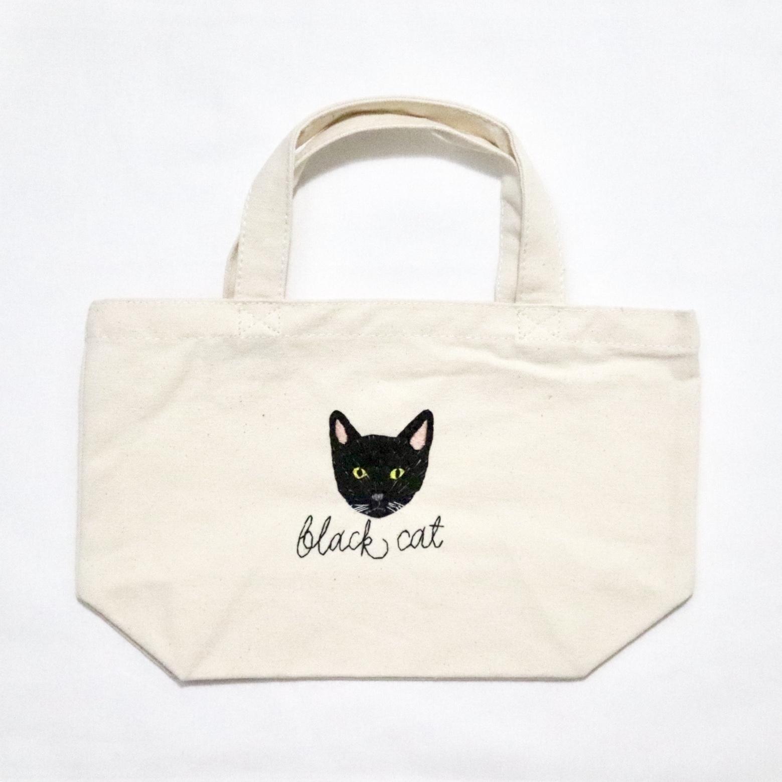 黒猫の刺繍帆布バッグ