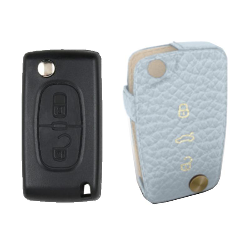 Peugeot 専用 TypeC Car Key Case Shrink Leather Case