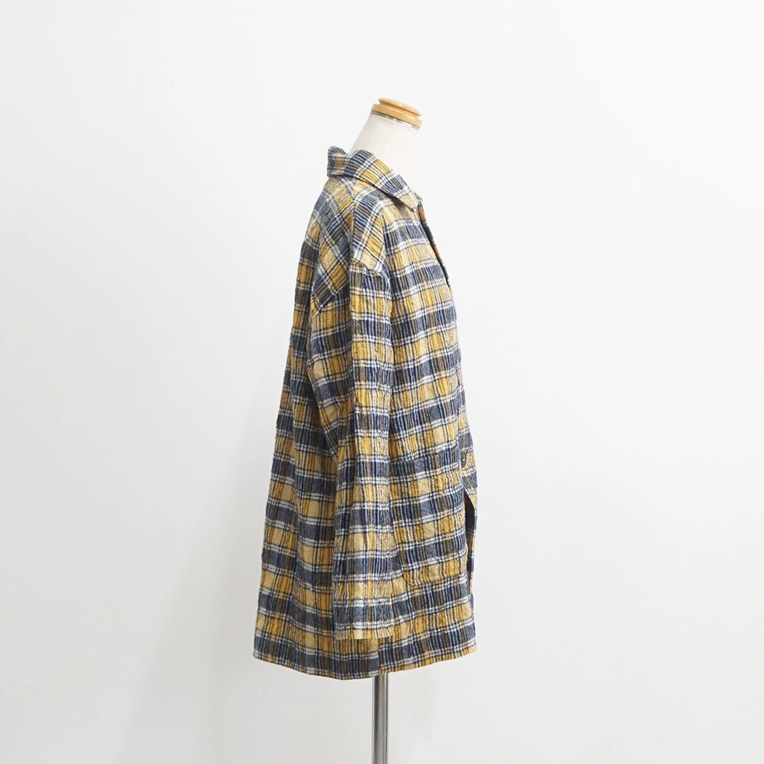 ICHIAntiquites イチアンティークス ウールガーゼチェックジャケット 【返品交換不可】 (品番500608)