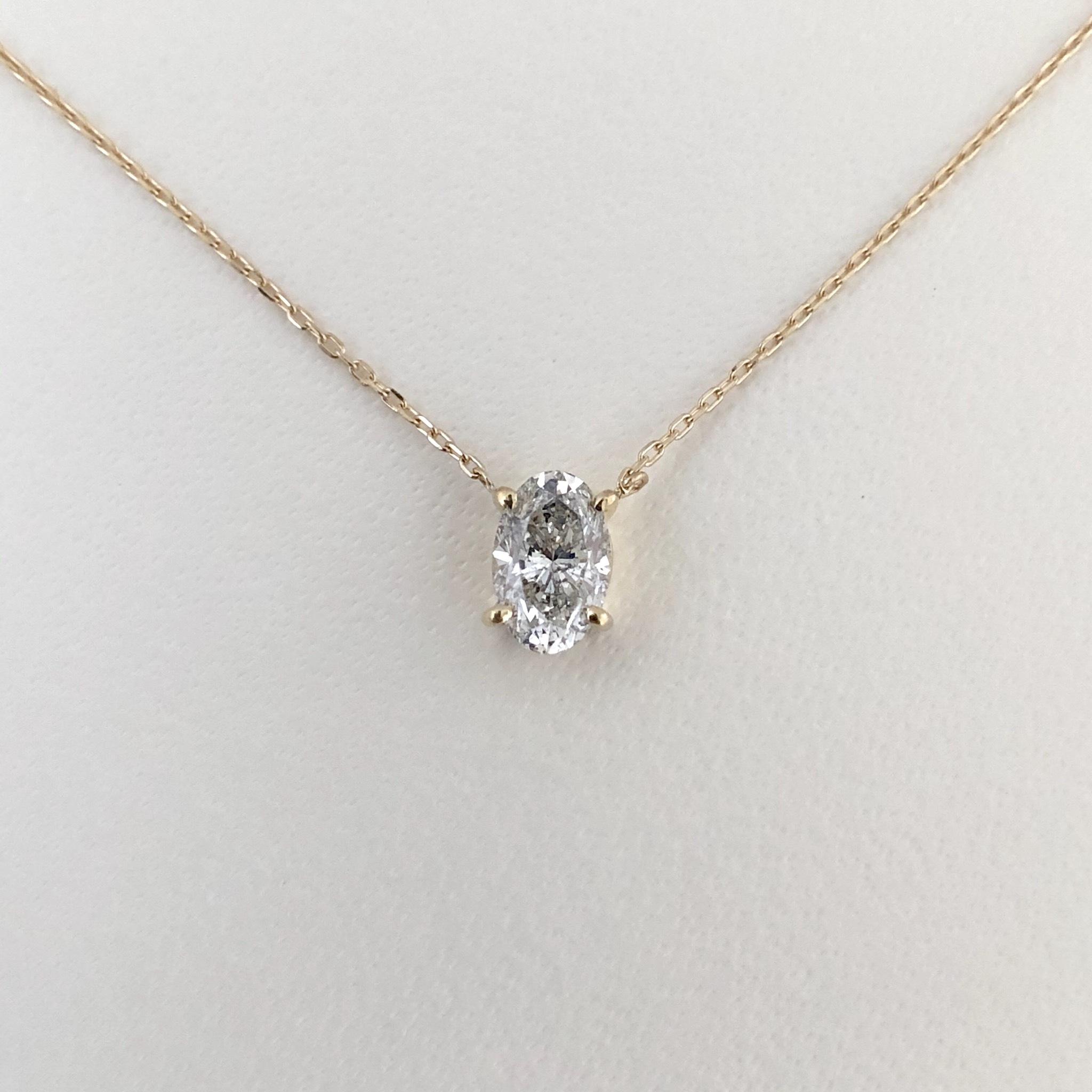 オーバルカット ダイヤモンド  ペンダント 0.539ct K18 イエローゴールド チェカ 鑑別書付