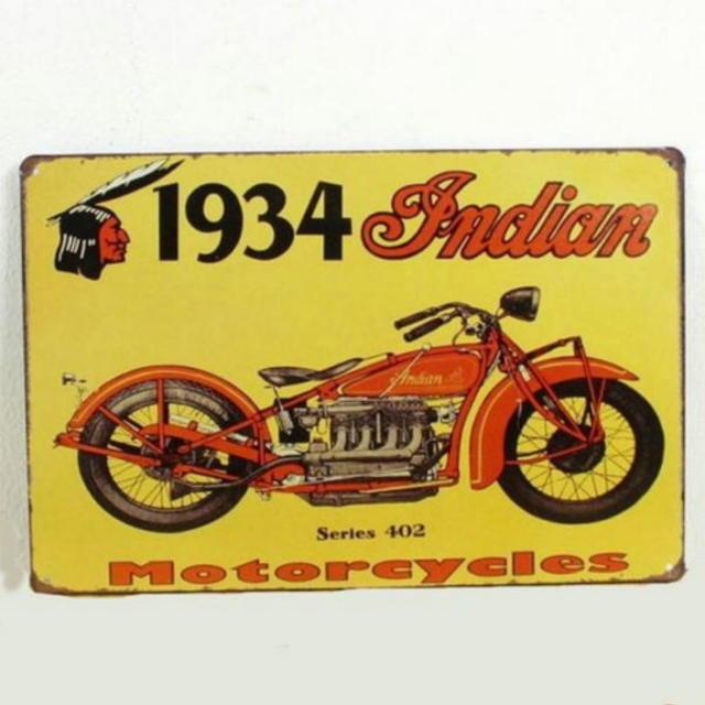 【ブリキ看板】インディアン モーターサイクル1934赤 小型版[B24127]